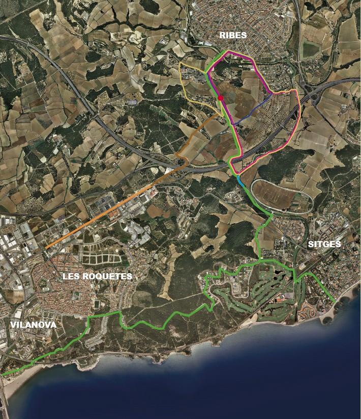 Camins pedalables del municipi. En blau, el tram arranjat. Foto: Ajuntament